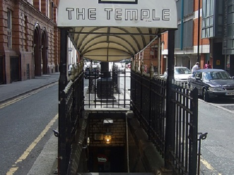 The Temple bar's awning and steps