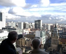 The view from the top of the tower at Manchester Town Hall.