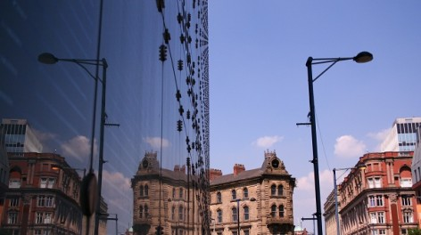 Manchester city centre, Exterior of National Football Museum on a sunny day, Susie Stubbs