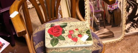 Vintage tin on chair, Susie Stubbs