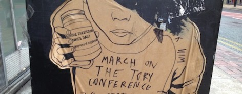 street art northern quarter manchester march on the tory conference