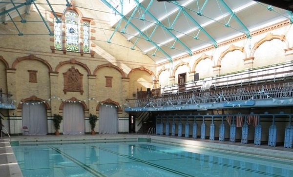 Photo of the inside of Victoria Baths, will a full pool and changing rooms