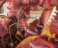 Interior of the Lilicoptere, a pink, ostrich feather decorated hellicopter by Joana Vasconcelos