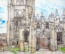 Illustration of Manchester Cathedral in pen and ink by Simone Ridyard.
