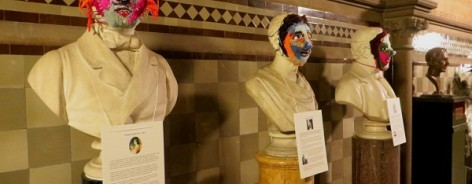 Warp and Weft have created crochet faces for statues in Manchester's town hall