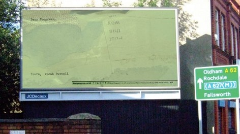 Billboard in green as part of Dear Progress, art installation by Micah Purnell in Manchester.