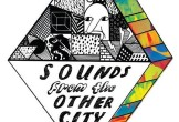 Poster for Sounds From the Other City, featuring colourful squares and cartoon faces.
