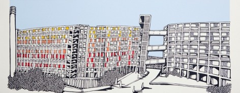 Illustration of Sheffield's Park Hill housing estate.