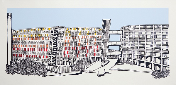 Illustration of Sheffield's Park Hill housing estate.