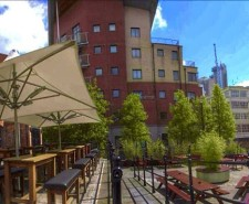 Panoramic photo of Rain Bar's outdoor area