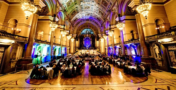 Photo of St George's Hall's colourfully lit Grand Hall