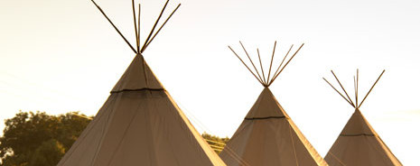 Row of tipi tents