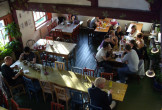 Looking down on the interior of the Egg Cafe in Liverpool