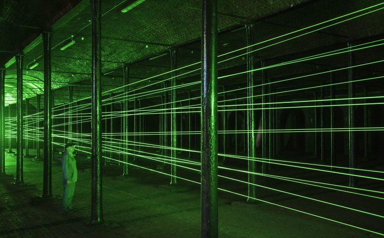 Installation shot of laser art work