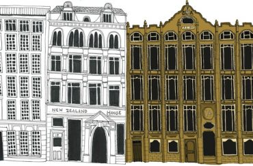 Illustration of Oriel Chambers and the two buildings next two it,