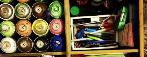 Photo of paint tubes and papers