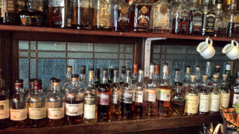 Photo of the Briton's Protection bar, filled with whisky bottles