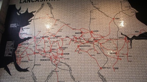 Photo of the tiled map of the north west at Victoria Station