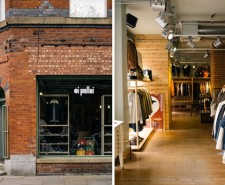 Split image of Oi Polloi's shop front and clothes racks inside