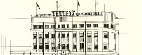 Black and white illustration of The Tetley
