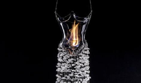 Photo of the dress of glass and flame, with a beaded skirt