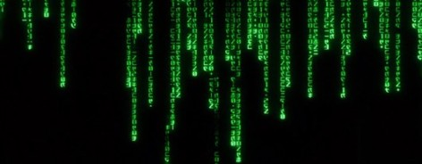 Still of the green coding in The Matrix