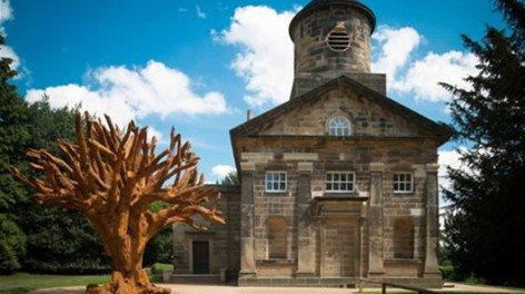 Ai Weiwei's Iron Tree outsdie the YSP chapel