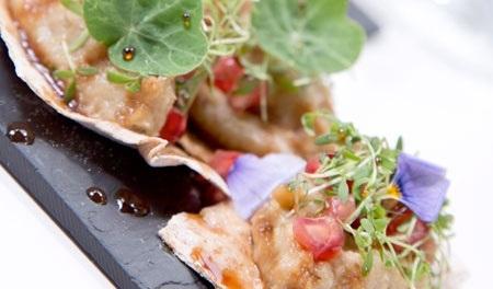 Food presented on a slate