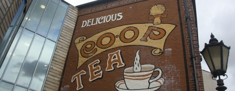 Photo of the co-op tea sign on the building