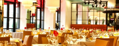 Photo of the restaurant interior with hanging lights