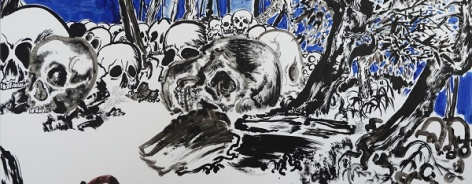 Illustration of skulls and trees in ink