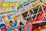 Photo of the theatre in the round and its colourful staircases