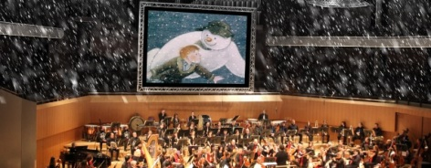 Photo of The Snowman being screened with a live orchestra