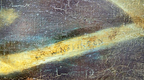 Tiny signature at the corner of the painting