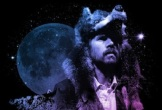 Photo of Gruff in wolf head with moon behind
