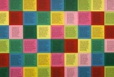 Text on coloured blocks