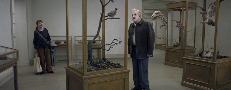 Still from the film with a man looking at a bird in a case
