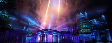 Photo of the Whitworth's front with fireworks coming from the roof