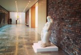 White sculpture of a woman in the Whitworth's back corridor