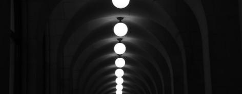 Line of lights in the dark