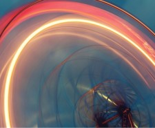 Slow exposure photo of a big wheel