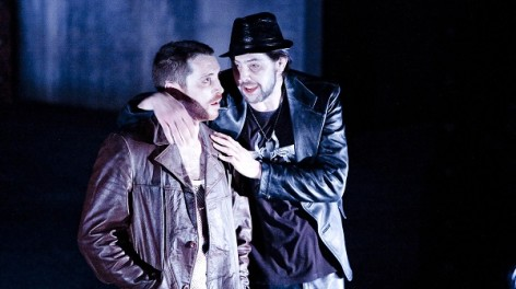Ben Batt (Cash) and Michael Ryan (Frankie Marr) in The Funfair. Photo by Graeme Cooper