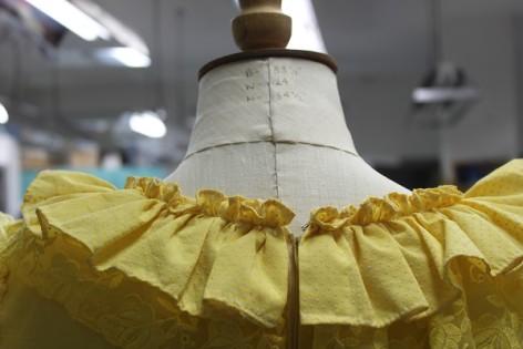 Yellow neckline on a mannequin