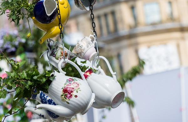 Teapots filled with flowers