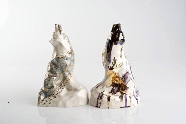 Ceramic wolf figurines