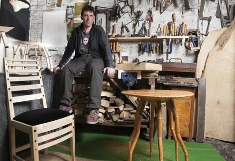 Designer-maker Tom Phillipson in his carpentry workshop