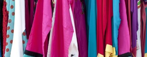 Colourful hanging fabrics