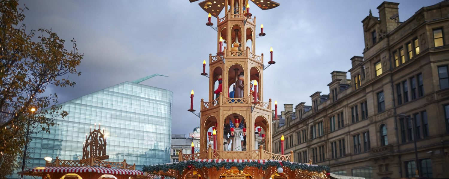 Photo of the festive display outside the Corn Exchange