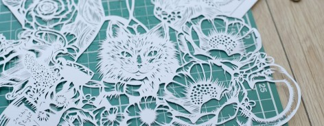 The Cheshire Cat cut from paper