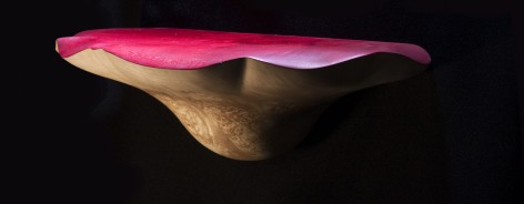 A wooden mushroom top